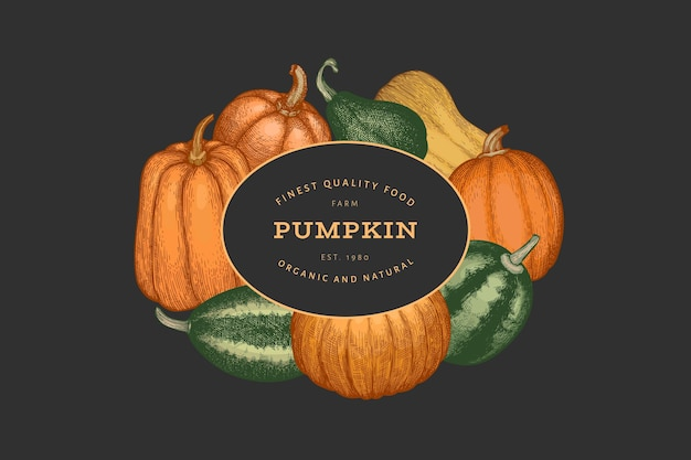 Modèle de conception de couleur citrouille. illustrations vectorielles dessinées à la main. toile de fond de thanksgiving dans un style rétro avec récolte de citrouilles. fond d'automne.