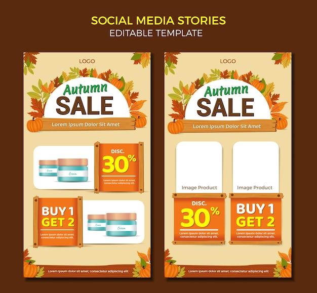 Modèle de conception de courrier de catalogue d'histoires de médias sociaux vente d'automne