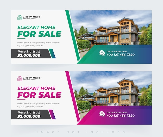 Modèle de conception de couverture et de bannière facebook élégant immobilier maison moderne