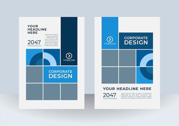 Modèle de conception de couverture bleue moderne.