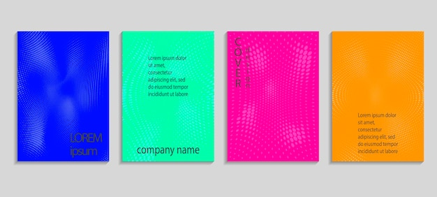 Modèle de conception de couverture en demi-teinte vectorielle abstraite minimale. futur fond dégradé géométrique. modèles vectoriels pour pancartes, bannières, dépliants, présentations et rapports