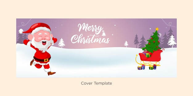 Modèle de conception de couverture de joyeux noël élégant et festif