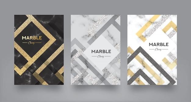Modèle de conception de couverture de livre abstrait en marbre