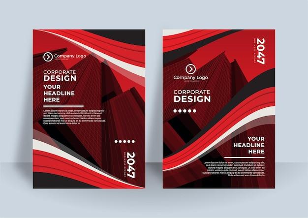 Modèle de conception de couverture de livre d'affaires. conception de rapport annuel moderne en couleur rouge