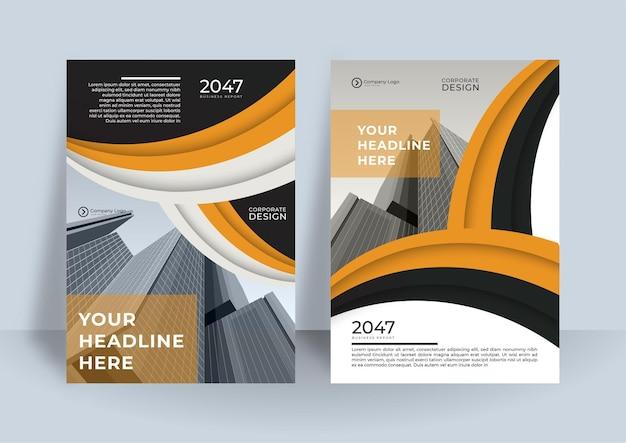 Modèle de conception de couverture de livre d'affaires. conception de rapport annuel moderne dans le thème de couleur orange et noir
