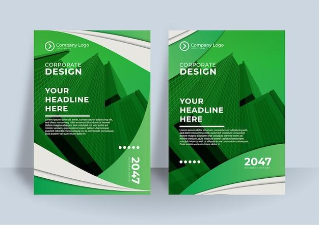 Modèle de conception de couverture de livre d'entreprise vert. conception d'entreprise de rapport annuel moderne