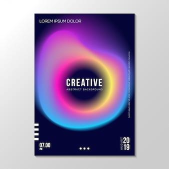 Modèle de conception de couverture de néon fluide dégradé abstrait