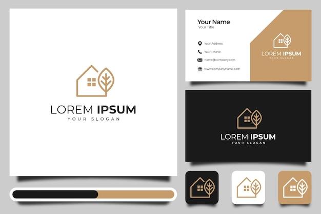 Modèle de conception créative et de carte de visite de logo de maison de feuille