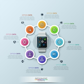 Modèle de conception de cycle d'infographie smart watch