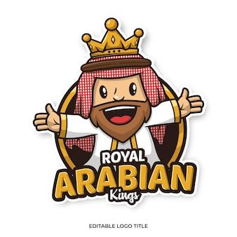 Modèle de conception de dessin animé de logo de mascotte de roi arabe
