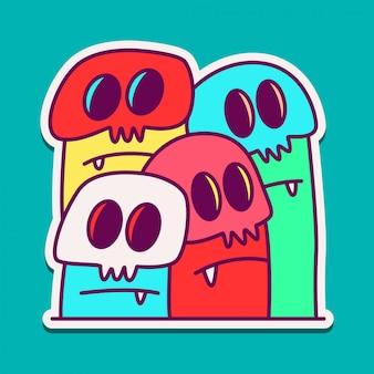 Modèle de conception de dessin animé monstre doodle