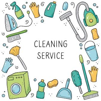 Modèle de conception dessiné à la main des équipements de nettoyage, éponge, aspirateur, spray, balai, seau. style de croquis de doodle.