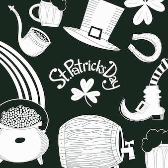 Modèle de conception dessiné à la main st. patricks day. chapeau de lutin, trèfle, chope de bière, baril, illustrations de pot de pièce d'or.