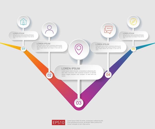 Modèle de conception de diagramme de flux infographique 5 étapes