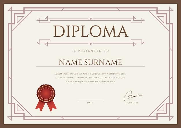 Modèle de conception de diplôme ou de certificat premium