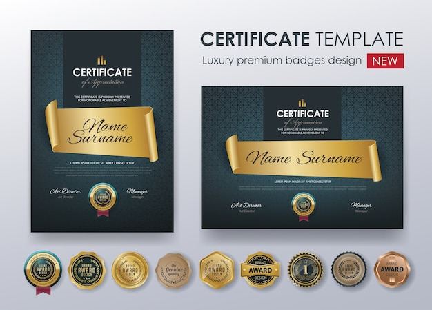 Modèle de conception de diplôme de certificat premium