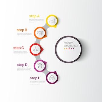 Modèle de conception de données infographiques modernes de vecteur illustration vectorielle avec 5 étapes et icônes