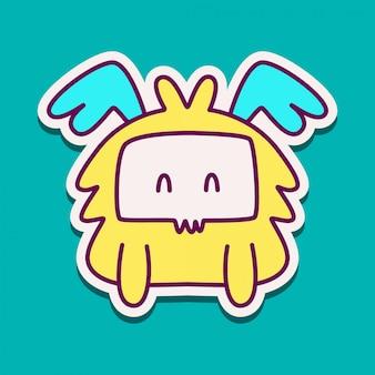 Modèle de conception de doodle autocollant dessin animé monstre