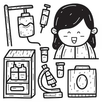 Modèle de conception de doodle infirmière dessin animé dessiné à la main