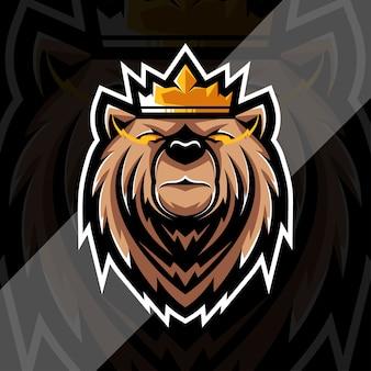 Modèle de conception e-sport logo mascotte roi grizzly