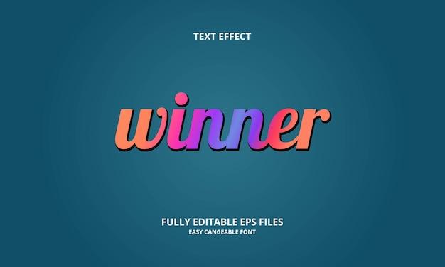 Modèle de conception d'effet de texte gagnant