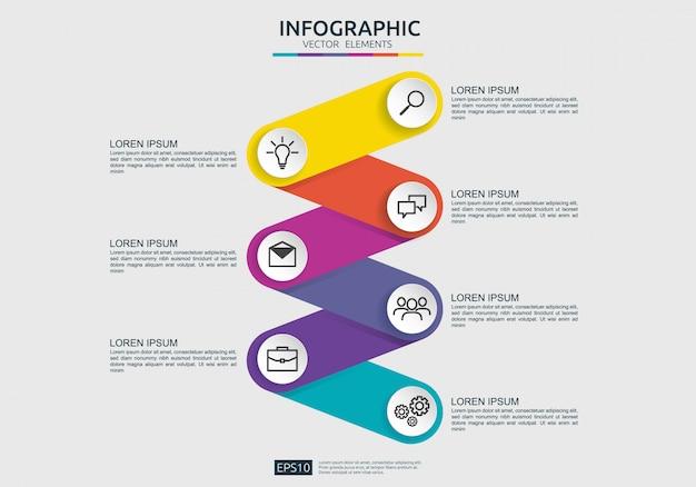 Modèle de conception d'élément infographique pour présentation, diagramme, flux de travail, rapport annuel. informations sur la chronologie de la connexion de visualisation des données commerciales avec option marketing.