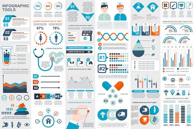 Modèle de conception des éléments médicaux infographie vectorielle