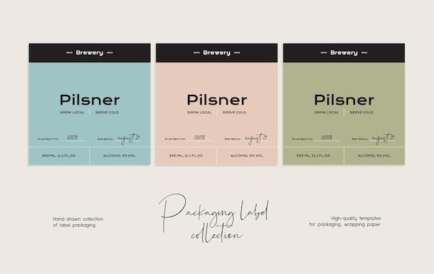 Modèle de conception d'emballage d'étiquette de bière vecteur art ligne dessinée à la main