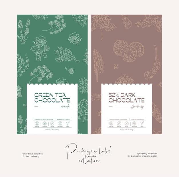 Modèle de conception d'emballage d'étiquettes alimentaires vecteur ligne art dessiné à la main