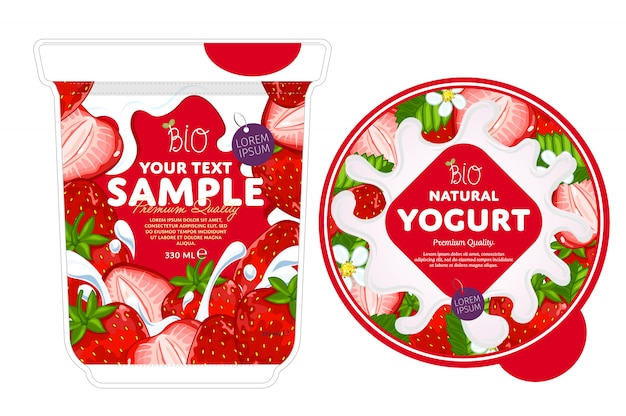 Modèle de conception d'emballage de yaourt à la fraise.