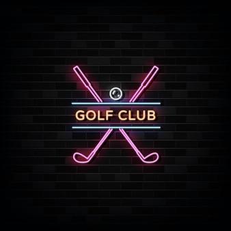 Modèle De Conception D'enseignes Au Néon De Club De Golf Vecteur Premium