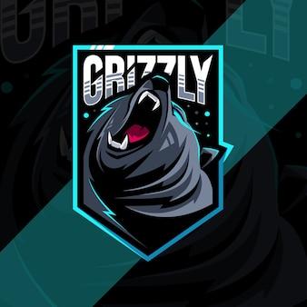 Modèle de conception esports logo mascotte grizzly en colère