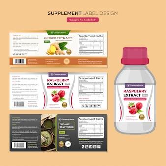 Modèle de conception d'étiquette de bouteille de supplément