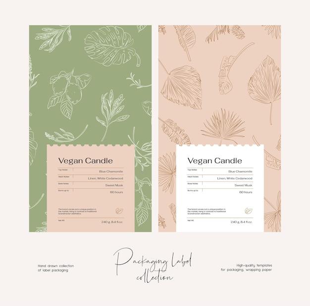 Modèle de conception d'étiquette de cosmétiques vectoriels dessinés à la