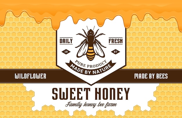 Modèle de conception d'étiquette ou d'emballage de miel