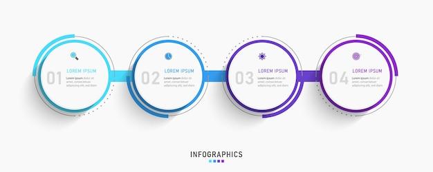 Modèle de conception d'étiquette infographique avec icônes et 4 options ou étapes