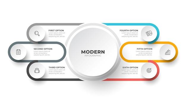 Modèle de conception d'étiquette infographique moderne