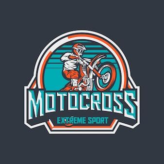 Modèle de conception d'étiquette logo insigne vintage premium sport extrême motocross