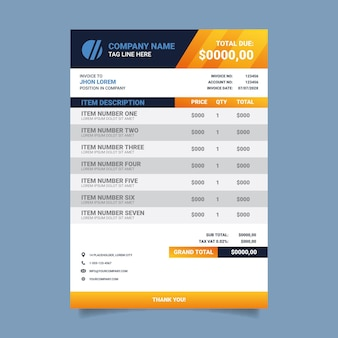 Modèle de conception de facture de marque d'entreprise