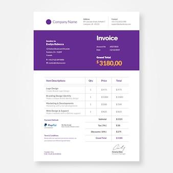 Modèle de conception de facture violet