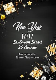 Modèle de conception de fête de nouvel an avec des éléments