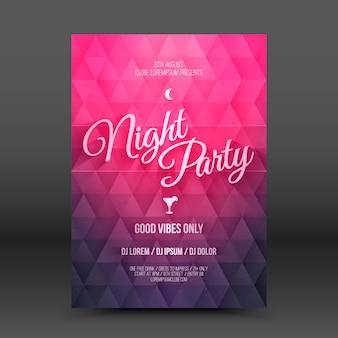 Modèle de conception de flayer vector night party