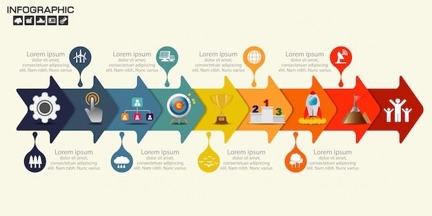 Modèle de conception de flèche infographique neuf étapes