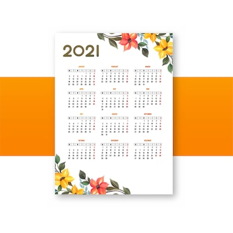 Modèle de conception florale de calendrier 2021 moderne