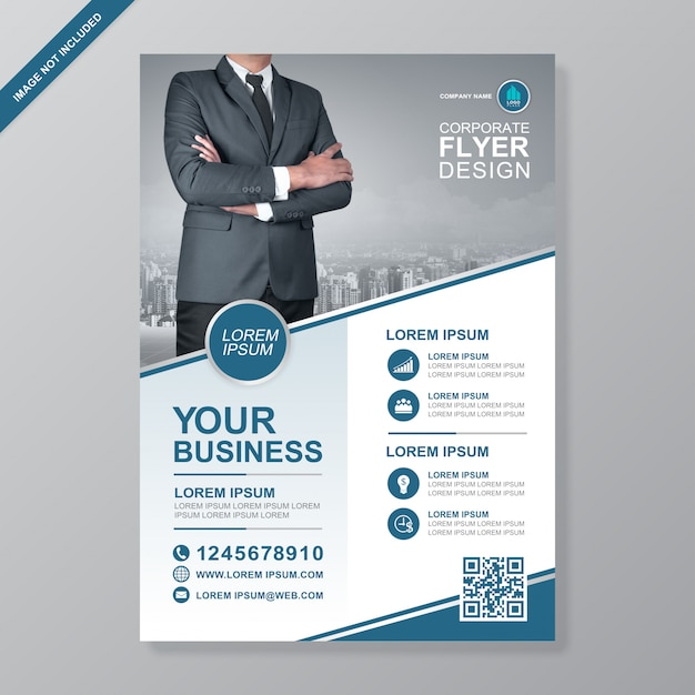 Modèle de conception de flyer a4 business cover