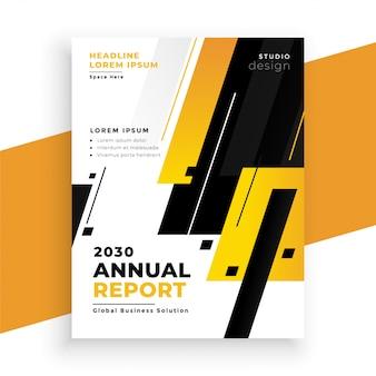 Modèle de conception de flyer d'affaires élégant rapport annuel jaune