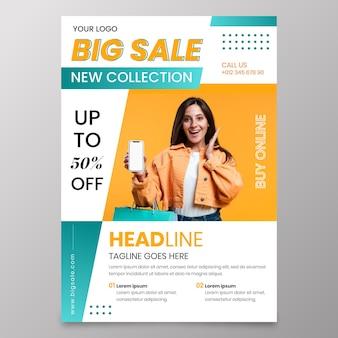 Modèle de conception de flyer coloré de vente