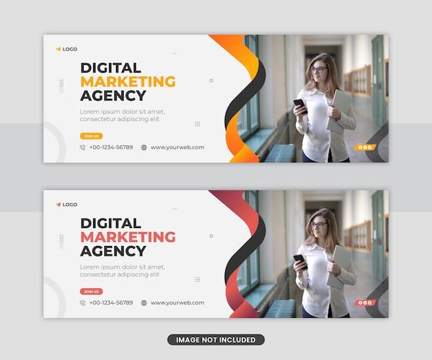 Modèle de conception de flyer de couverture facebook de bannière web de médias sociaux d'agence d'entreprise