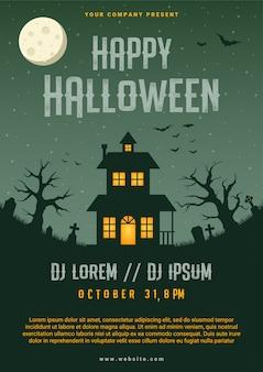 Modèle de conception flyer entreprise halloween heureux, illustration