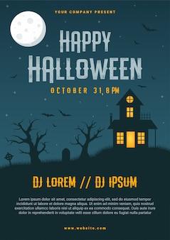 Modèle de conception de flyer entreprise halloween heureux,